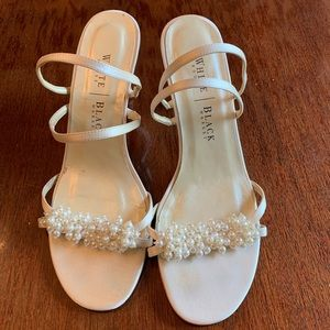 White House Black Market ivory pearl heel sandals